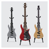 Vector Illustration Electric Bass Guitar set with Stand Stock Photography
