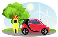 Vector illustration of electric car red color on charging station with windmills, green tree, sun, blue sky background stock illustration