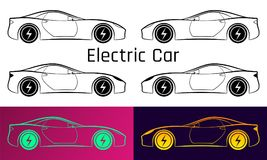 Vector Illustration of Electric Car. Silhouette Royalty Free Stock Images
