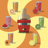Vector illustration of electric juicer, juices and slices of fruits Royalty Free Stock Photo