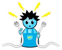 Electrician. Vector illustration of an electrician who gets an electric shock royalty free illustration