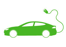 Vector illustration of electro car green icon Royalty Free Stock Image