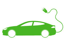 Vector illustration of electro car green icon. Line thickness fully  Royalty Free Stock Photo