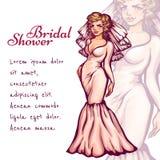 Vector illustration of elegant bride for Bridal Royalty Free Stock Photos
