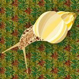 Vector illustration of an elegant golden snail on pattern. Lonely snail in golden tones on a very funny pattern. simple but fun. lonely snail in golden tones on vector illustration