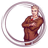 Vector illustration of elegant man. Round banner Royalty Free Stock Image