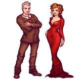 Vector illustration of elegant man and women Stock Image