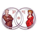 Vector illustration of elegant man and women Royalty Free Stock Photos