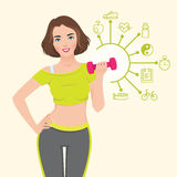Vector illustration with elements of infographics athletic girl doing fitness. Stock vector illustration with elements of infographics athletic slender girl is Stock Photos