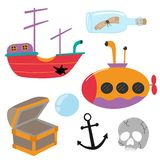 elements of the underwater world vector illustration