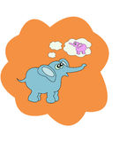 Vector illustration with elephant Stock Photo