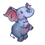 Vector illustration of elephant in cartoon style. On transparent background