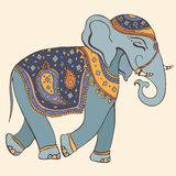 Vector illustration of an elephant. Indian style Royalty Free Stock Images