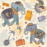 Vector illustration of an elephant. Travel pattern Royalty Free Stock Images