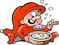 Vector illustration of elf eating porridge. Hand-drawn Vector illustration of elf eating porridge Stock Photos