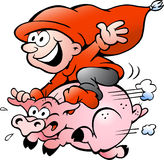Vector illustration of elf riding on a pig Stock Images