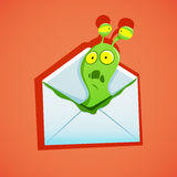 Vector illustration of Email with virus Royalty Free Stock Photography