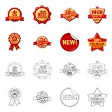 Vector illustration of emblem and badge icon. Collection of emblem and sticker stock vector illustration. Isolated object of emblem and badge symbol. Set of royalty free illustration