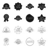 Vector illustration of emblem and badge icon. Set of emblem and sticker stock vector illustration. Isolated object of emblem and badge symbol. Collection of stock illustration