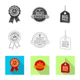 Vector design of emblem and badge sign. Collection of emblem and sticker stock symbol for web. Vector illustration of emblem and badge logo. Set of emblem and vector illustration