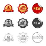 Vector design of emblem and badge sign. Collection of emblem and sticker vector icon for stock. Vector illustration of emblem and badge logo. Set of emblem and Royalty Free Illustration