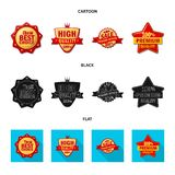 Vector illustration of emblem and badge sign. Collection of emblem and sticker stock symbol for web. vector illustration