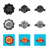 Vector illustration of emblem and badge sign. Collection of emblem and sticker vector icon for stock. Isolated object of emblem and badge logo. Set of emblem royalty free illustration