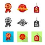 Vector illustration of emblem and badge sign. Set of emblem and sticker stock vector illustration. Isolated object of emblem and badge logo. Collection of royalty free illustration