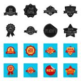 Vector illustration of emblem and badge symbol. Set of emblem and sticker vector icon for stock. Isolated object of emblem and badge sign. Collection of emblem stock illustration