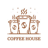 Vector illustration of emblem concept coffee house in line style. Linear brown cup. Stock Images