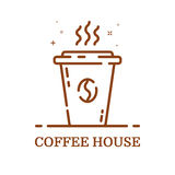 Vector illustration of emblem concept coffee house in line style. Linear brown cup. Royalty Free Stock Image