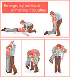 Vector illustration of a emergency methods of moving casualties.  Stock Photography