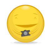 Vector illustration of emoticon with photo camera Royalty Free Stock Photo
