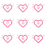 Vector illustration of emoticons pink icon set in flat line style. Stock Photo