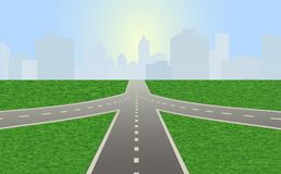 Road leading to city standing at horizon. Vector illustration of empty highway with road junction. Road leading to city standing at horizon. Vector is perfect vector illustration