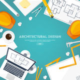 Vector illustration. Engineering and architecture. Drawing, construction. Architectural project. Design, sketching Stock Photography
