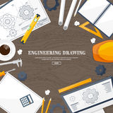 Vector illustration. Engineering and architecture. Drawing, construction. Architectural project. Design, sketching Stock Images