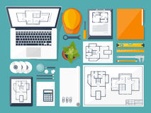 Vector illustration. Engineering and architecture. Drawing, construction. Architectural project. Design, sketching Stock Photos