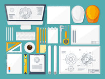 Vector illustration. Engineering and architecture. Drawing, construction. Architectural project. Design, sketching Royalty Free Stock Photo