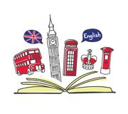 Vector illustration English language school. Open book and famous symbols of London: Big Ben, double decker, telephone and post box, crown. Hand drawn doodle Royalty Free Illustration