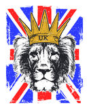Vector Illustration of a English Royal banner. With lion head. Vector illustration Royalty Free Stock Images