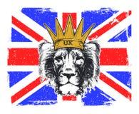 Vector Illustration of a English Royal banner. With lion head. Vector illustration Stock Images