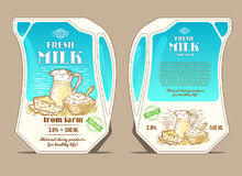 Vector illustration in the engraving style, design packaging for milk, lean pack in the form of a jug. With hand-drawn milk products. Eco-friendly packaging for Royalty Free Stock Image