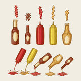 Vector illustration of an engraving style set of different sauces are poured from bottles Stock Images