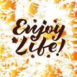 Vector illustration of enjoy life text for logotype, flyer, banner, greeting card. royalty free illustration