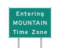 Entering Mountain Time Zone road sign. Vector illustration of Entering Mountain time zone road sign stock illustration