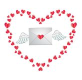 Envelope with heart stamp and white angel wings framed with red Royalty Free Stock Photo