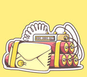 Vector illustration of envelope with red dynamite on yellow back Royalty Free Stock Photography