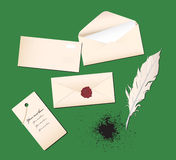 Vector illustration with envelopes and a pen Stock Photo