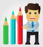 Business man presenting a statistics with pencils Royalty Free Stock Photography